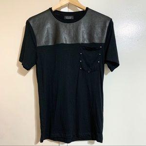 Zara Man Faux Leather Studded Pocket T-Shirt